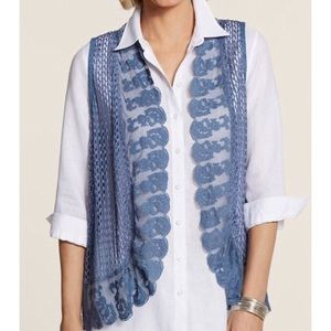 Chico's Blue Lily Lace Floral Embroidery Knit Vest